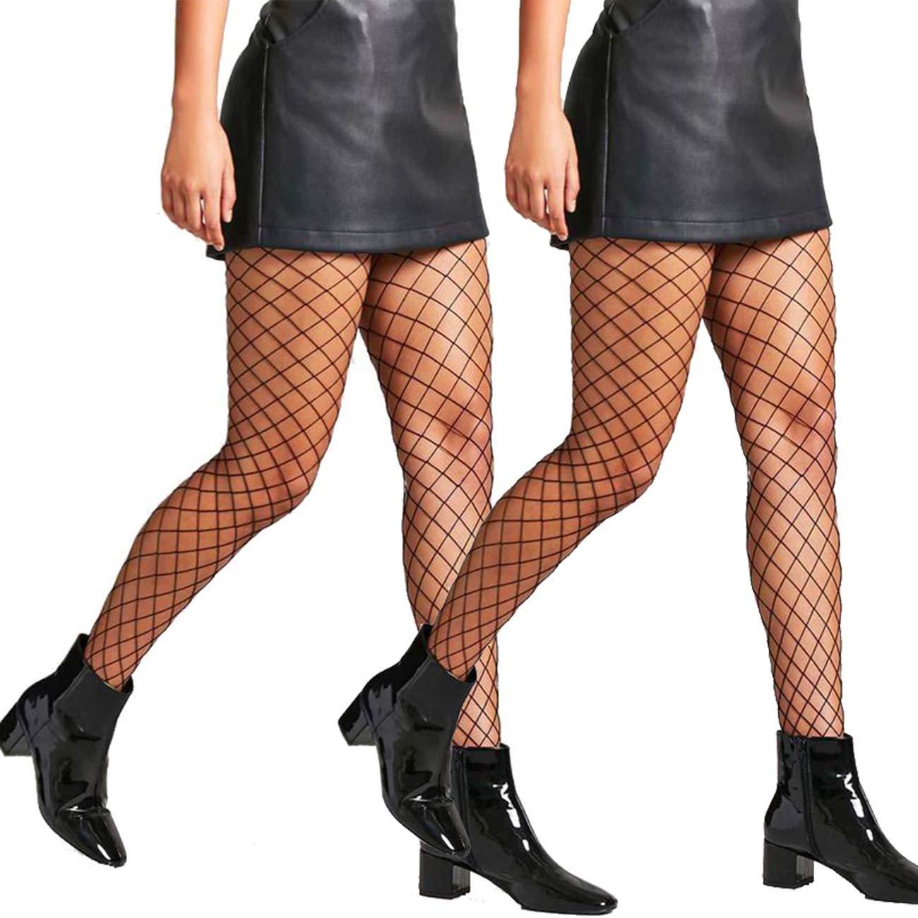 2 Pair Fishnet Stockings for Women High Waist Fish Net Tights Pantyhose DancMolly