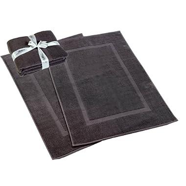 HILLFAIR 900 GSM-Hotel-Spa Tub-Shower Bath Mat Floor Mat - (2 Pack, Grey, 21 Inch by 34 Inch) - 100% Ringspun Cotton Bath Mat/Bath Rugs,Machine Washable Cotton Bath Mats - Terry Bath Mats/Rugs