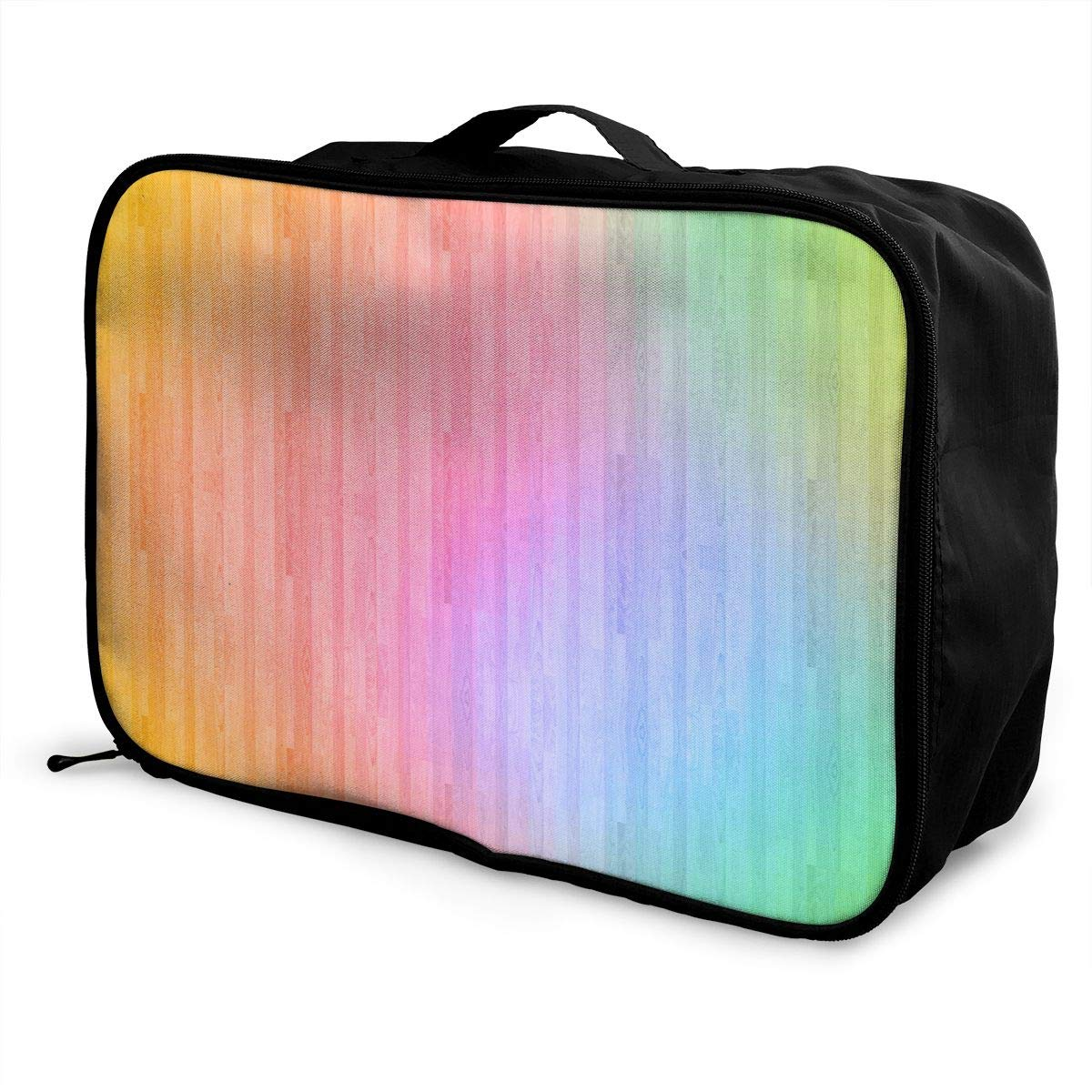 YueLJB Pastel Rainbow Pretty Lightweight Large Capacity Portable Luggage Bag Travel Duffel Bag Storage Carry Luggage Duffle Tote Bag