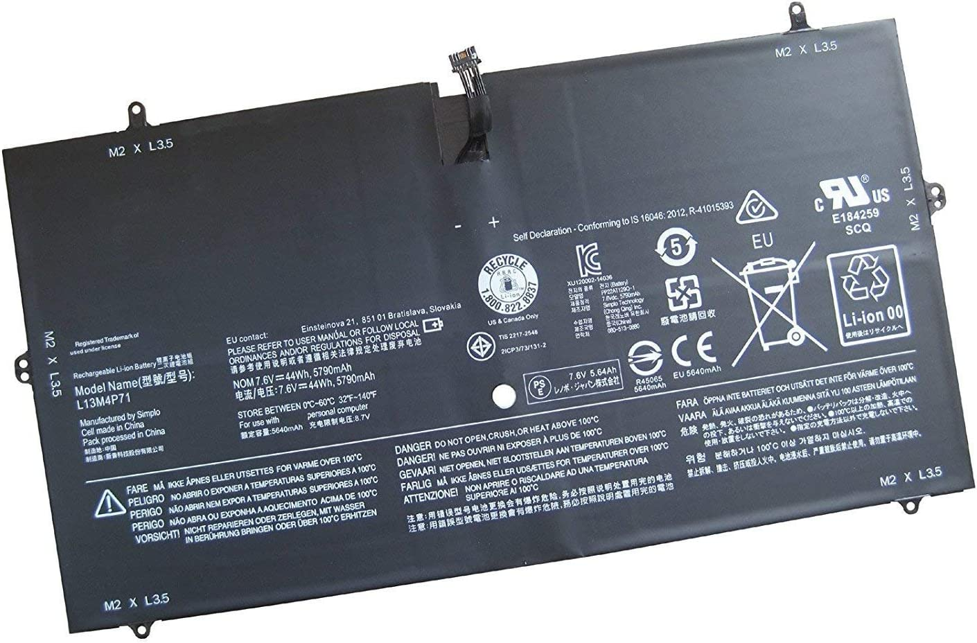 Ding L13M4P71 Replacement Battery Compatible with Lenovo L13M4P71 Yoga 3 Pro 1370 Series T440P (7.6V 44WH 5900mAh)