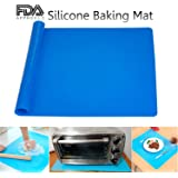 Silicone Baking Mat Large Nonstick and Nonskid Heat Proof Pastry Dough Pie Pizza Bread Making Rolling Mat Multipurpose for Counter Top Protector, Dining Table Mat and Placemat 20'' by 16'' (Blue)