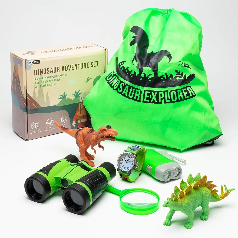 Ivy Step Dinosaur Explorer Kit for Boys and Girls with Dinosaur Binoculars, Flashlight, Watch, Magnify Glass, Carry Bag, Stegosaurus and Tyrannosaurus Rex