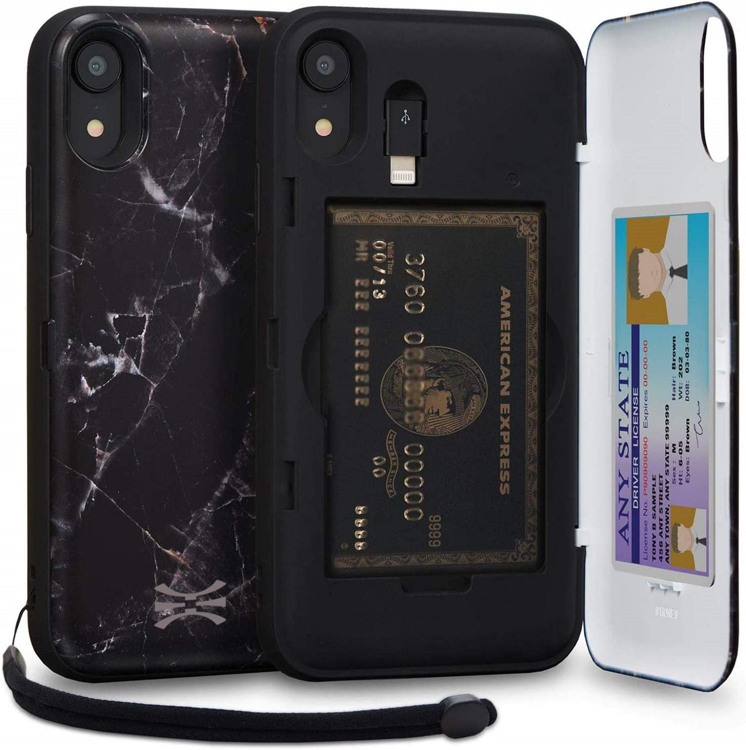 TORU CX PRO iPhone XR Wallet Case Pattern with Hidden Credit Card Holder ID Slot Hard Cover, Strap, Mirror & Lightning Adapter for Apple iPhone XR (2018) - Black Marble