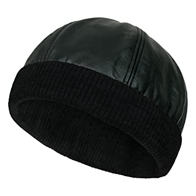 ililily Faux Leather Solid Color Skully Beanie Ribbed Knit Band Hat ... 6264a97b823