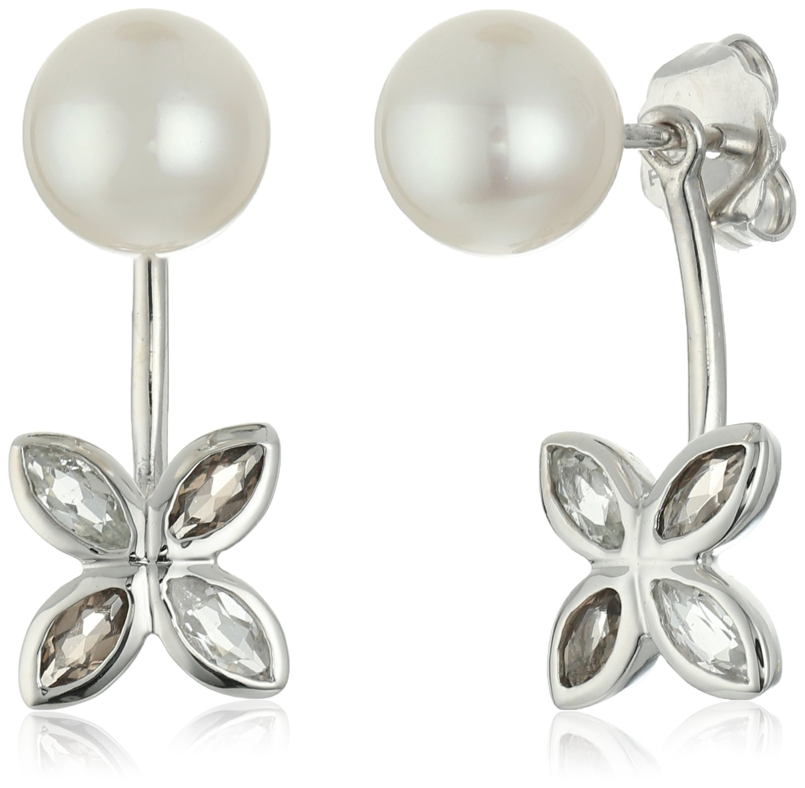 TARA Pearls 7.5X8mm Akoya Pearl and White Topaz and Smoky Quartz Flower Jacket Sterling Silver Earring Jackets