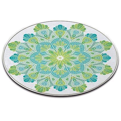 Lb Tappeto Tondo Sfondo Bianco Foglie Verdi Modello Trama Mandala