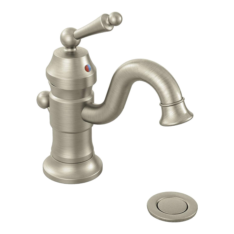 Moen S411BN Waterhill One-Handle High Arc Bathroom Faucet, Brushed ...