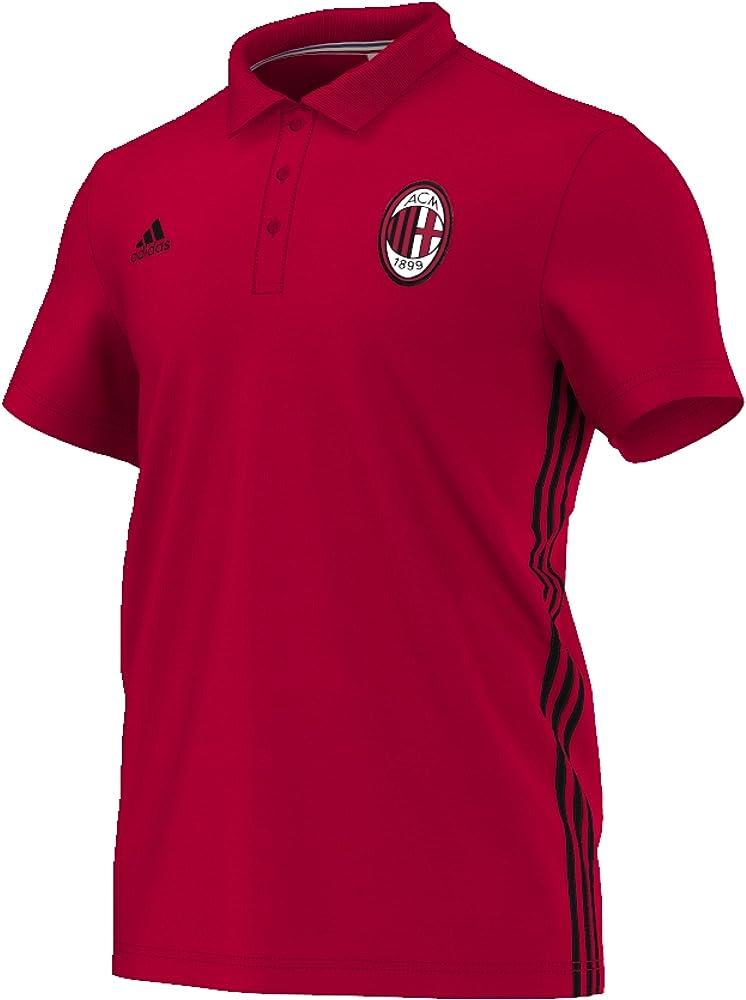 adidas AC Milan 3S Polo Camiseta, Hombre, Rojo/Negro (Rojvic/Negro ...