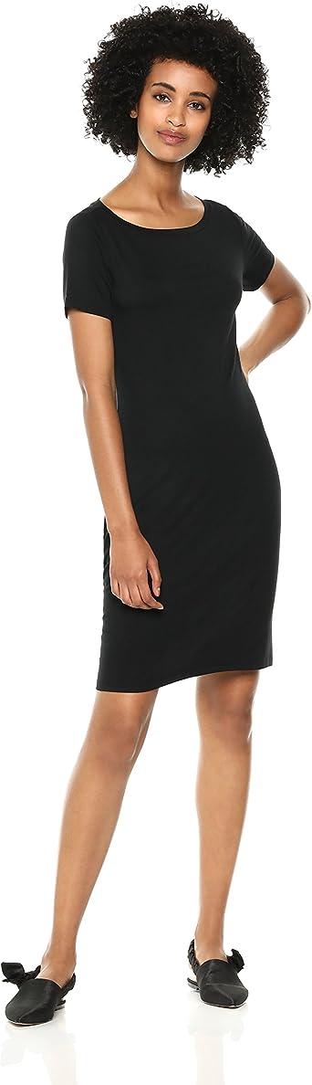 Daily Ritual Women's Jersey Standard-Fit Short-Sleeve Bateau-Neck T-Shirt Dress