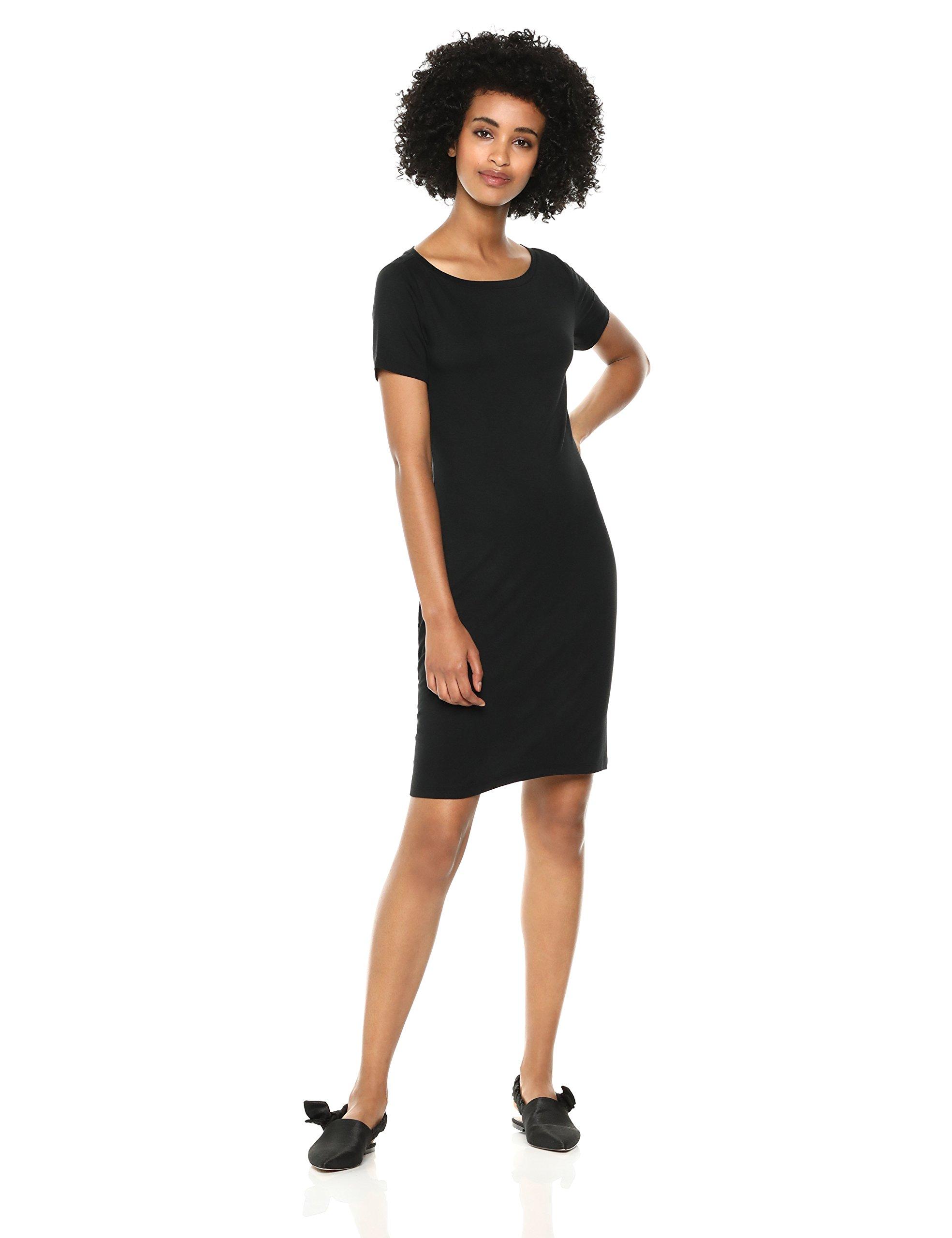 Daily Ritual Women's Jersey Short-Sleeve Bateau-Neck T-Shirt Dress, Black, Small