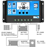 Solar Charge Controller 10A, Y-SOLAR Solar Panel Controller PWM 12V/24V Auto Paremeter Adjustable LCD Display Solar Panel Battery Regulator with Dual USB Load Timer Setting ON/OFF Hours
