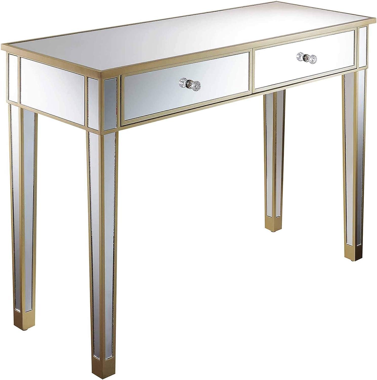 Convenience Concepts Gold Coast Mirrored Desk, Champagne / / Mirror