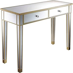 Convenience Concepts Gold Coast Mirrored Desk, Champagne / / Mirror