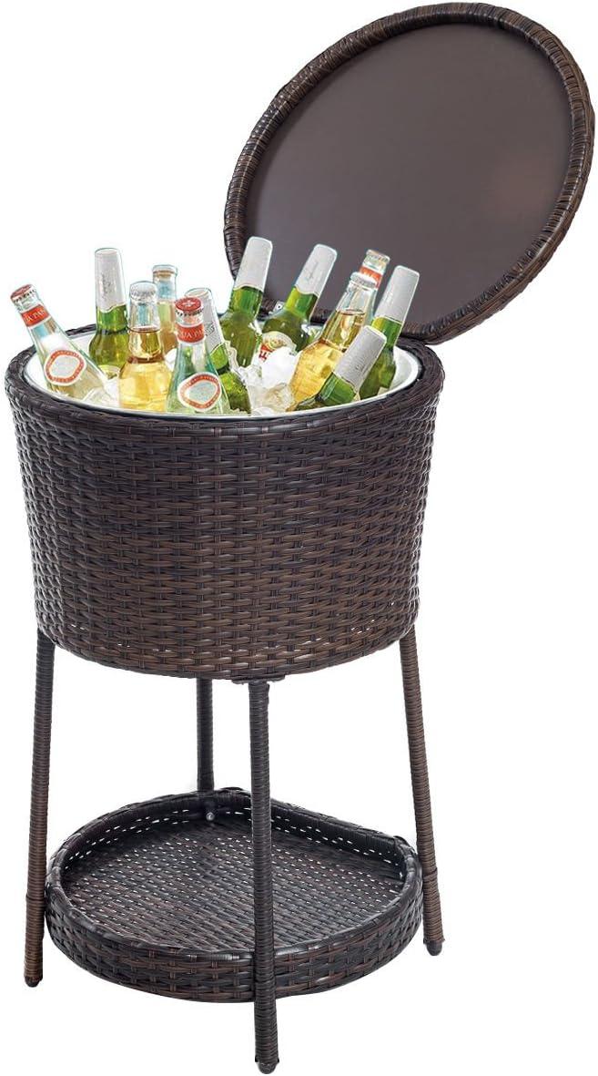 Nuevo hielo enfriador Bar mesa de almacenamiento de muebles de jardín de ratán baúl de cubo para bebidas: Amazon.es: Jardín