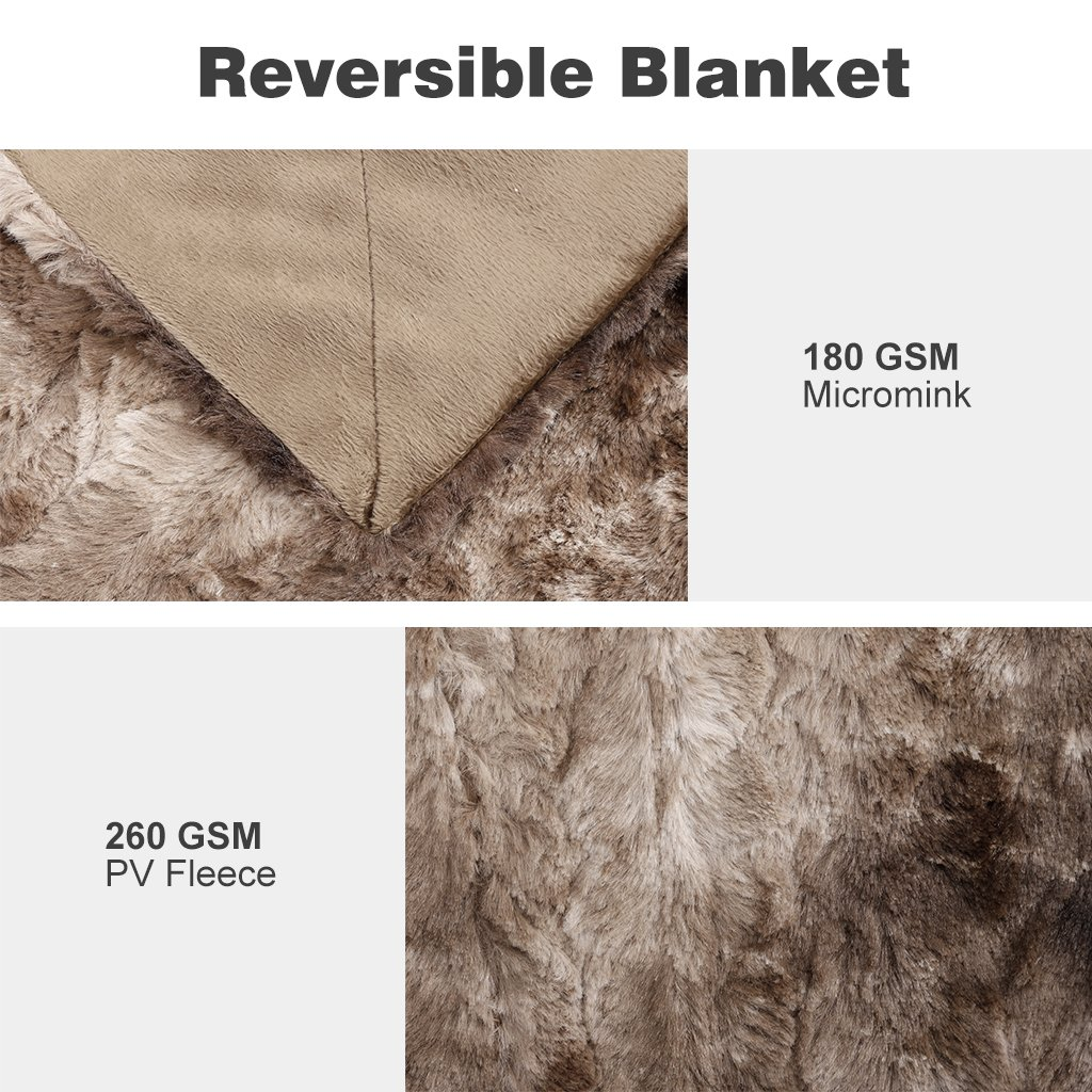 LANGRIA Luxury Super Soft Faux Fur Fleece Throw Blanket Cozy Warm Breathable Lightweight and Machine Washable Dyed Fabric for Winter – Decorative Furry Throw for Couch Bed (60x80\