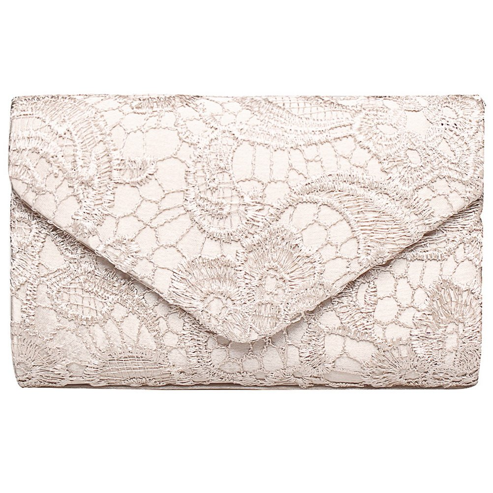 Fashion Road Evening Clutch, Women Floral Lace Envelope Clutch Purses, Elegant Handbags For Wedding And Party Apricot by Fashion road (Image #1)