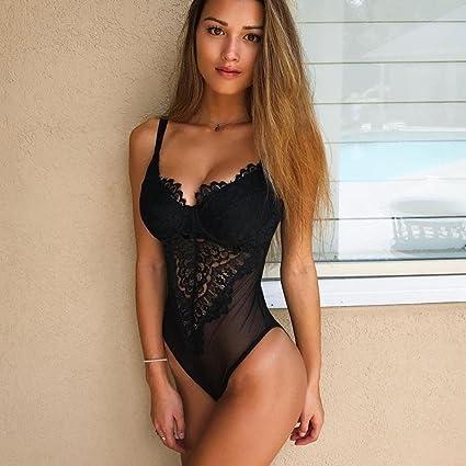 5bd014a954 Amazon.com  Sunyastor Women Lingerie Lace Underwire Bodysuit Temptation  Mesh Sleeveless Bodysuit Clubwear Top Sexy Plus Size Lace Teddy  Clothing
