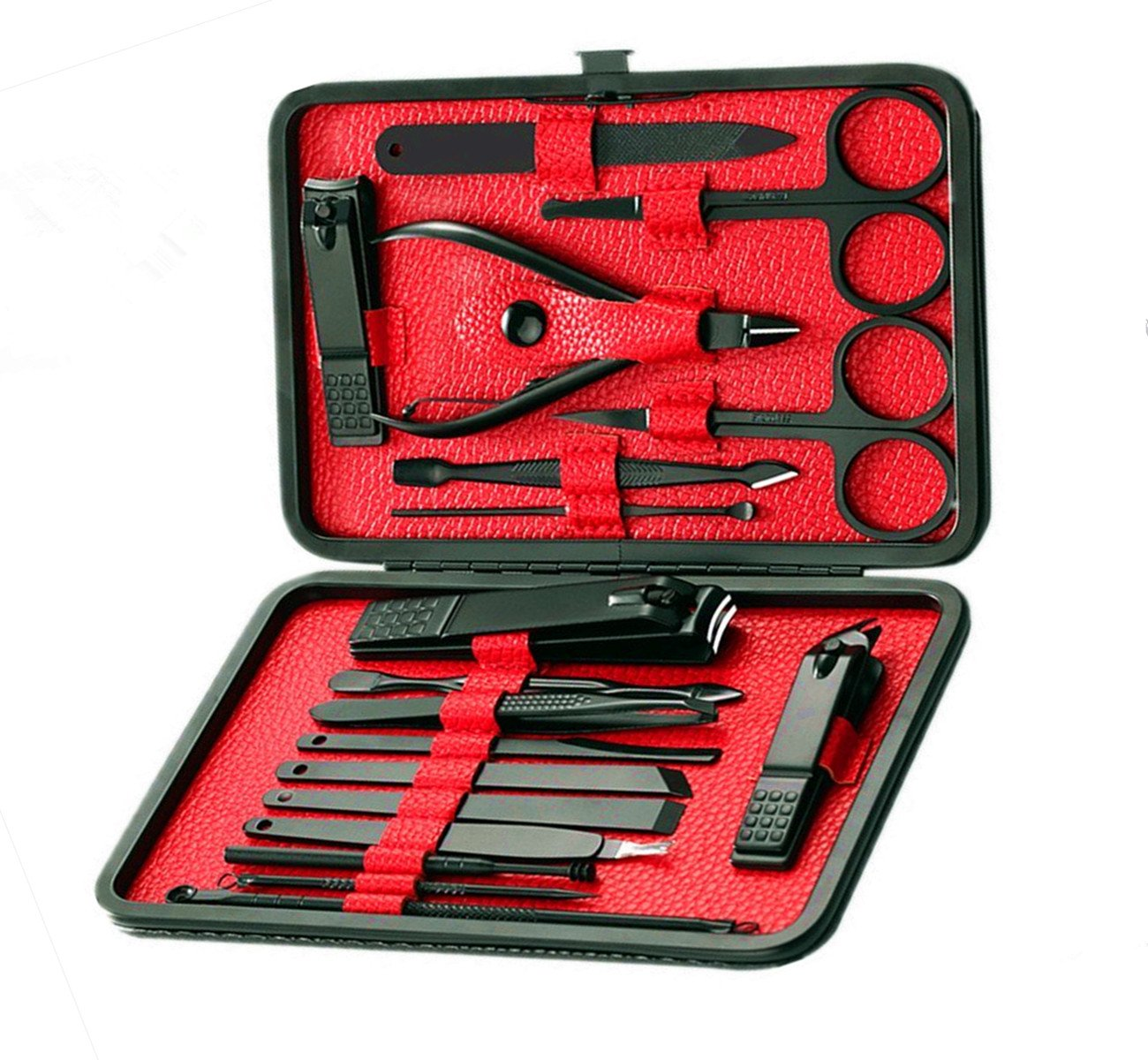 Cammyllc Updated 18 In 1 Mens Grooming Kit Manicure Set Stainless Steel Professional Pedicure Kit Nail Scissors with Black Leather Travel Case (Black & Red)