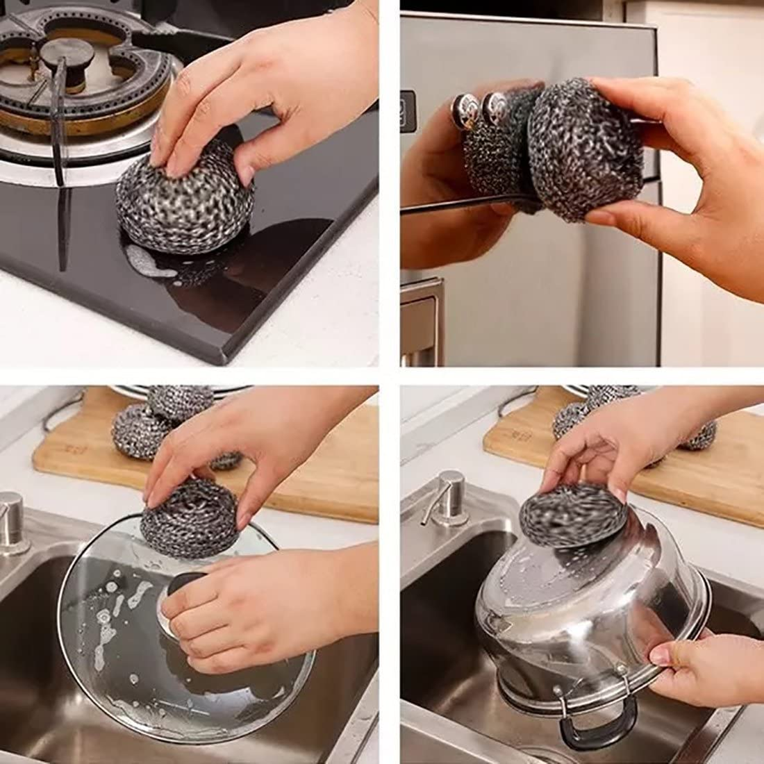 Stainless Steel Scourer-Kitchen Stainless Steel Sponge Scrubbers for Our Kitchen Pots and Pans Cleaning 40g 3