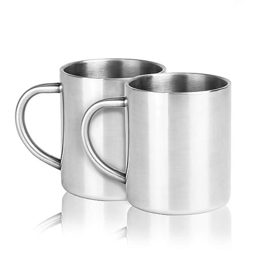 Juego de 2 tazas de acero inoxidable | Taza de café de doble ...