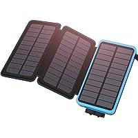 ADDTOP Solar Powerbank 24000mAh Solar Ladegerät mit 3 Solarpanels Wasserdichte Externer Akku Handy Ladegerät für iPhone XS Max/XR/X / 8/7 / 6s, iPad, Samsung Galaxy und viele mehr