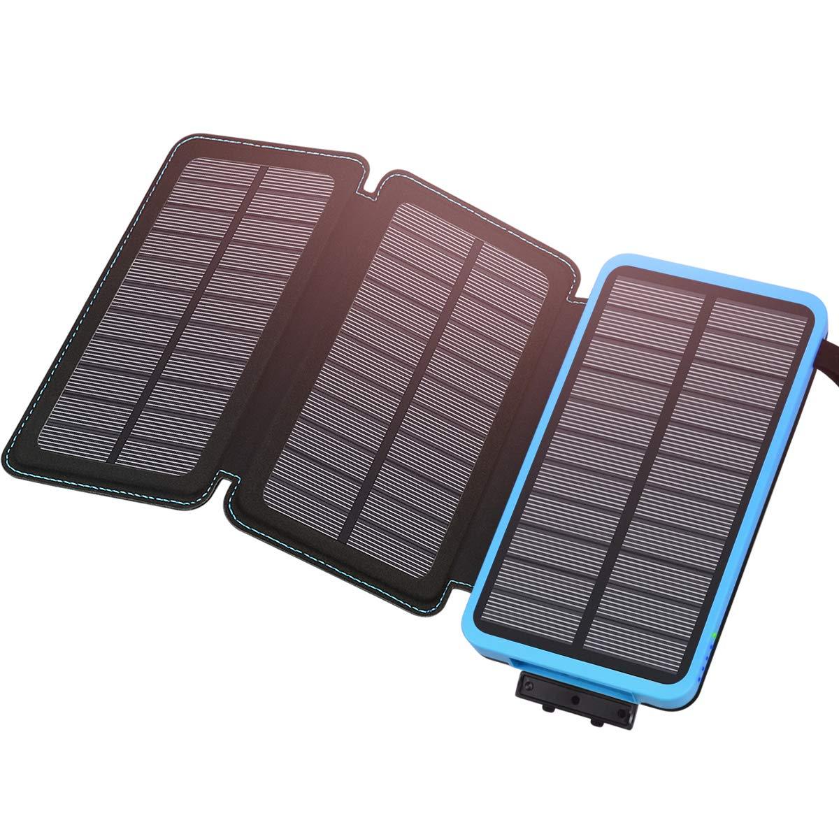 ADDTOP Cargador Solar 24000mAh, Batería Externa Salida 5V / 2.1A