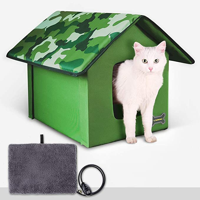 Outdoor Indoor Heated Cat House Petfactors Cat Bed With 7 Level Controller Dc Low Voltage Safe Electric Heated Pad Pet House Cat Beds With Thermostat And Adapter Camo Color 22 L X 18 5 W X 16 5 Pet Supplies