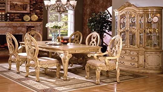 Amazon Com 7 Pc Tuscany Iii Antique White Finish Wood Elegant Formal Style Dining Table Set With Intricate Designs Home Kitchen