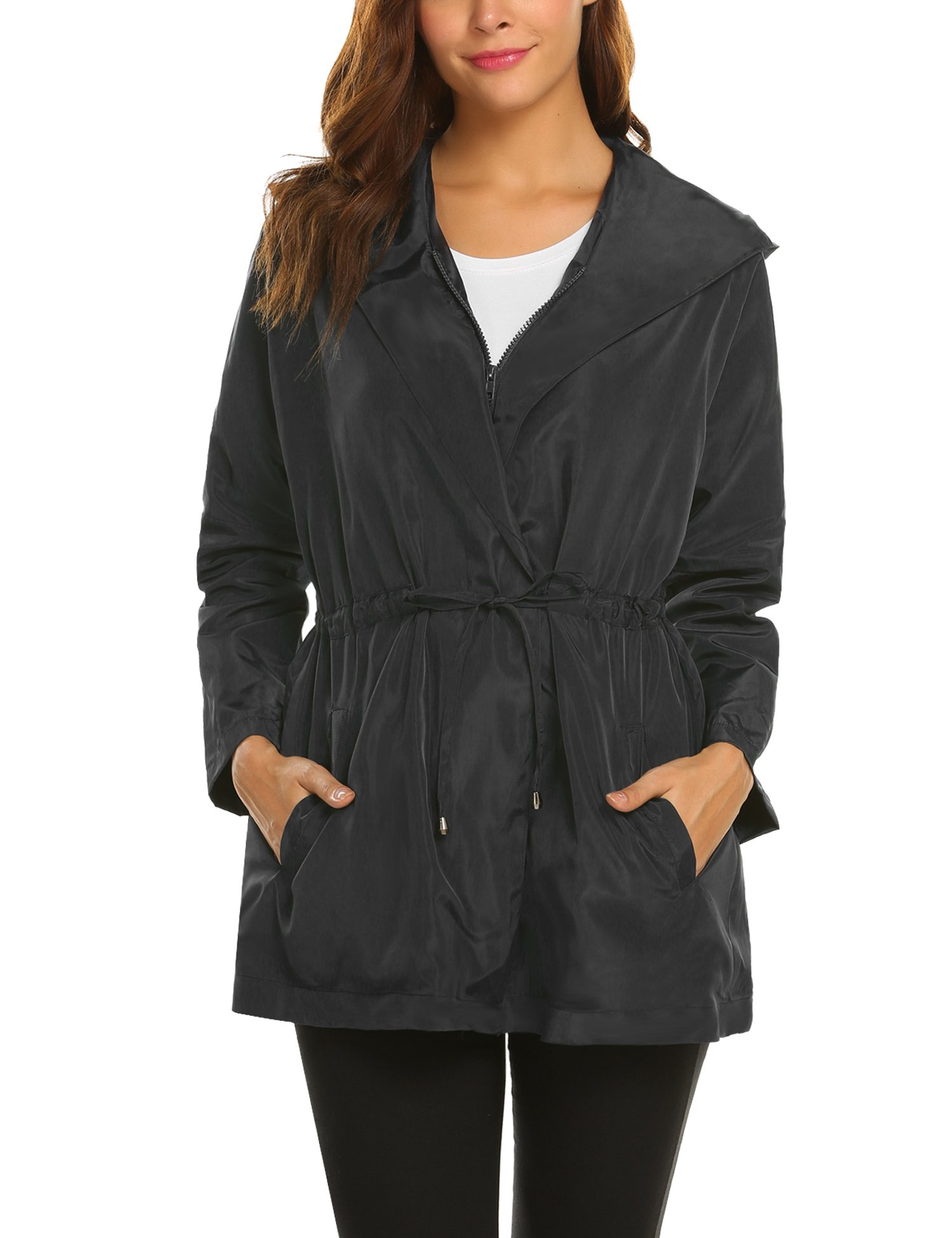 SummerRio Womens Lightweight Travel Trench Waterproof Raincoat Hoodie Windproof Hiking Coat Packable Rain Jacket