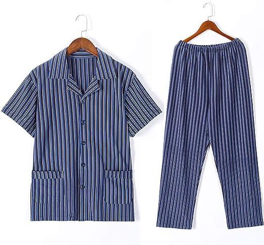 Pijamas Manga Corta para Hombre Verano Rayas de algodón Ropa de Dormir de Gran tamaño Juego de Dos Piezas Mejores Regalos para Hombres Ropa de Dormir: Amazon.es: Hogar