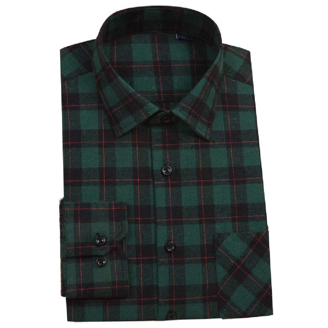 YUNY Mens Flannel Plaid Lounge Long-Sleeve Button Down Shirt 5 2XL