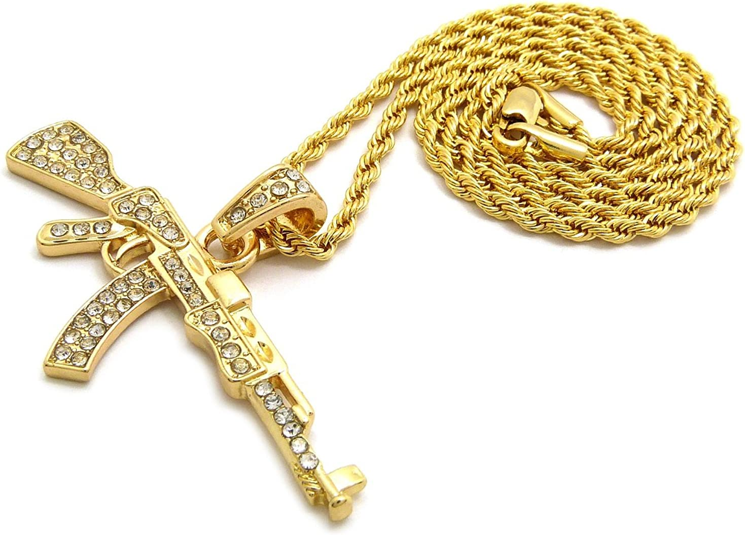 XSP627 NEW ICED OUT AK47 PENDANT /& 24 BOX//CUBAN//ROPE CHAIN HIP HOP NECKLACES