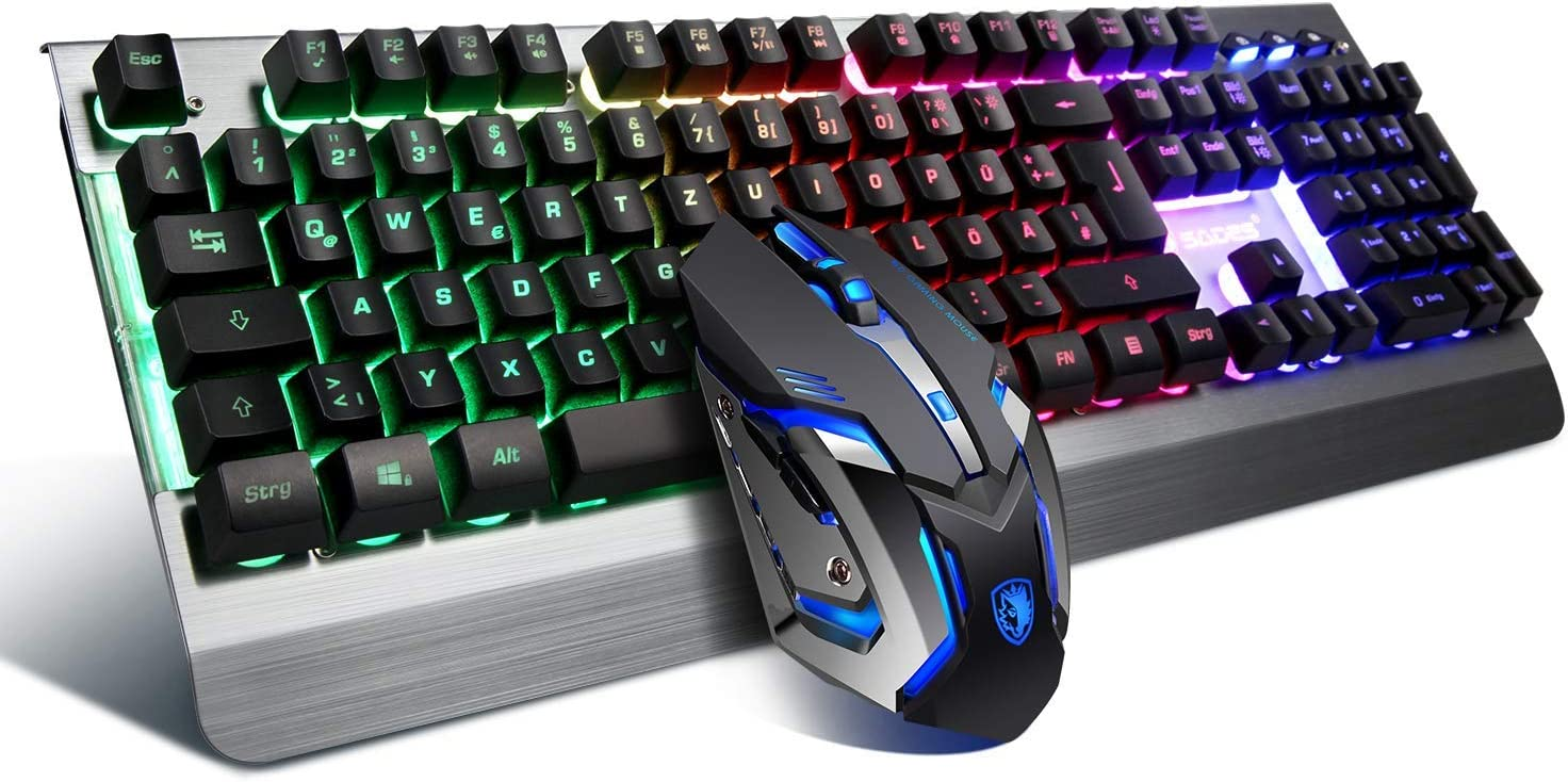 SADES WhisperⅡGaming Keyboard and Mouse Combo Wired LED RGB Backlit,104 Keys USB Ergonomic Wrist Rest Keyboard 3200DPI 6 Button Mouse for Windows PC /& Mac OS