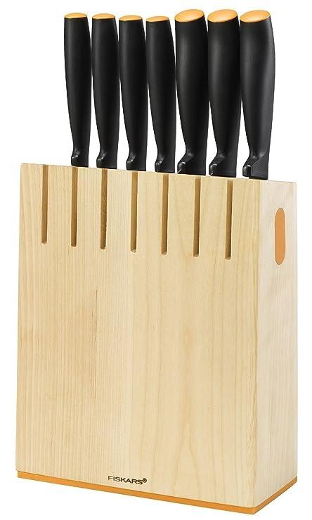 Fiskars Bloque de cuchillos con 7 cuchillos, Ancho: 20,8 cm, Alto: 37 cm, Madera de abedul, Functional Form, 1018781