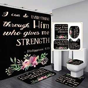 Bathroom Mat Sets 4 Piece with 12 Hook, Colorful Word Letters Print Carpet Doormats Decor Shower Curtain and Rugs Bath Mat for tub Kids Floor, Non-Slip Floral Shower Curtain Bathroom Mat