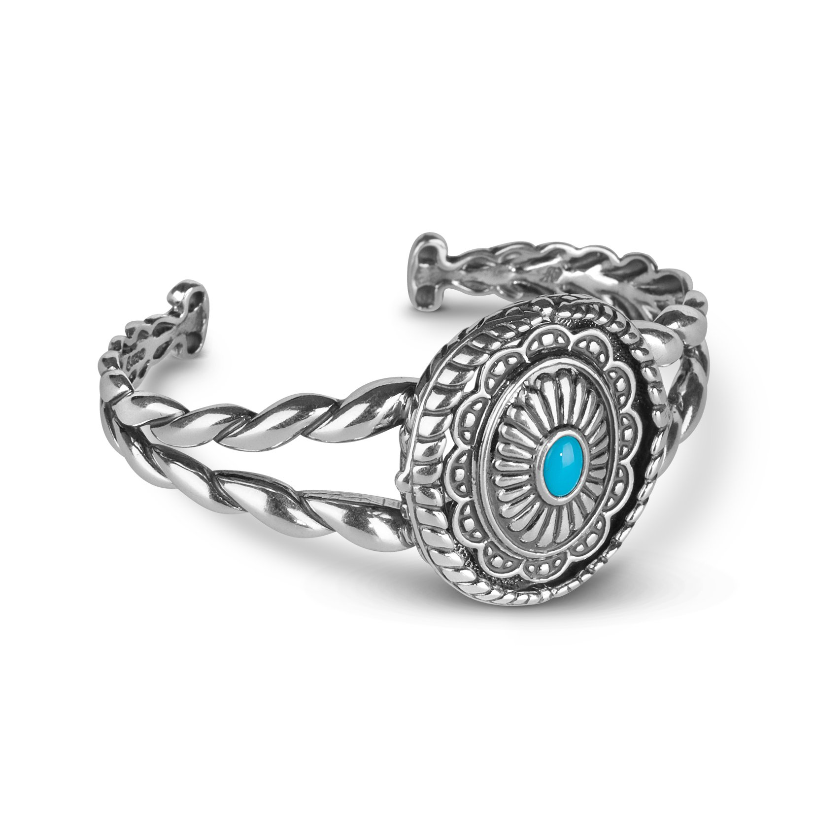 American West Jewelry - Sterling Silver and Sleeping Beauty Turquoise Interchangeable Cuff Bracelet - Large- Treasures Collection