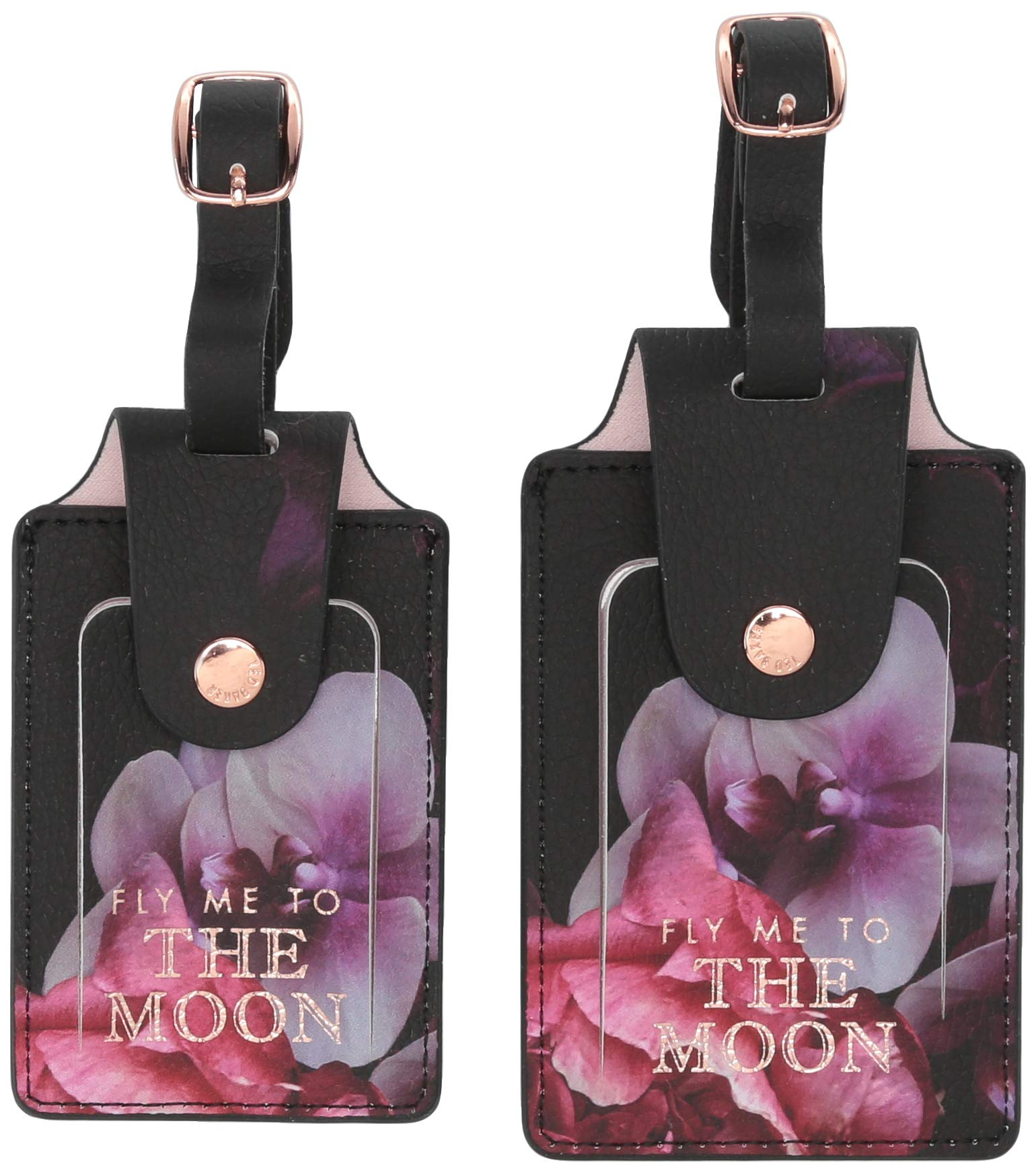 Ted Baker ATED399 Splendor Floral Faux Leather Travel Bag Tags with Adjustable Strap, Set of 2, Multi, Small by Ted Baker