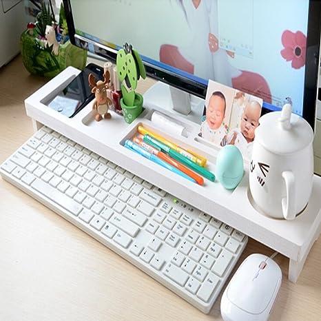 GEZICHTA - Estante organizador de escritorio multifunción para ordenador, iMac, impresora, teclado y
