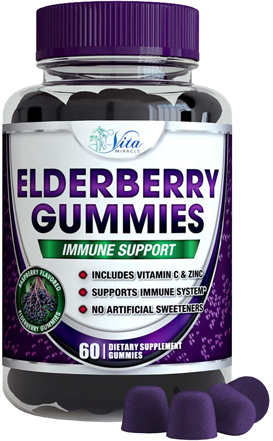 Sambucus Elderberry Gummies Adults Kids – Cold and Flu Immune Support for Adult and Children Black Elderberry Gummy Organic Vegan Natural Formula 1 Pack