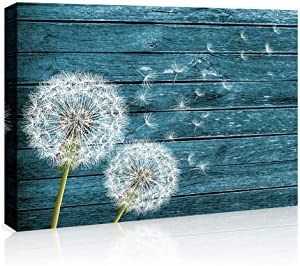 Dandelion Wall Art Wall Decor Green Plant Wall Art for Living Room Blue Floral Picture on Wood Background Canvas Prints Artwork for Home Decor 12x16 Inch Wood Grain Watercolor Painting Ready to Hang