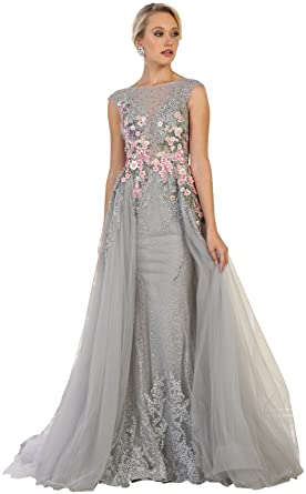 Formal Dress Shops Inc Royal Queen RQ7596 Red Carpet Formal Evening Gown - Grey - 8