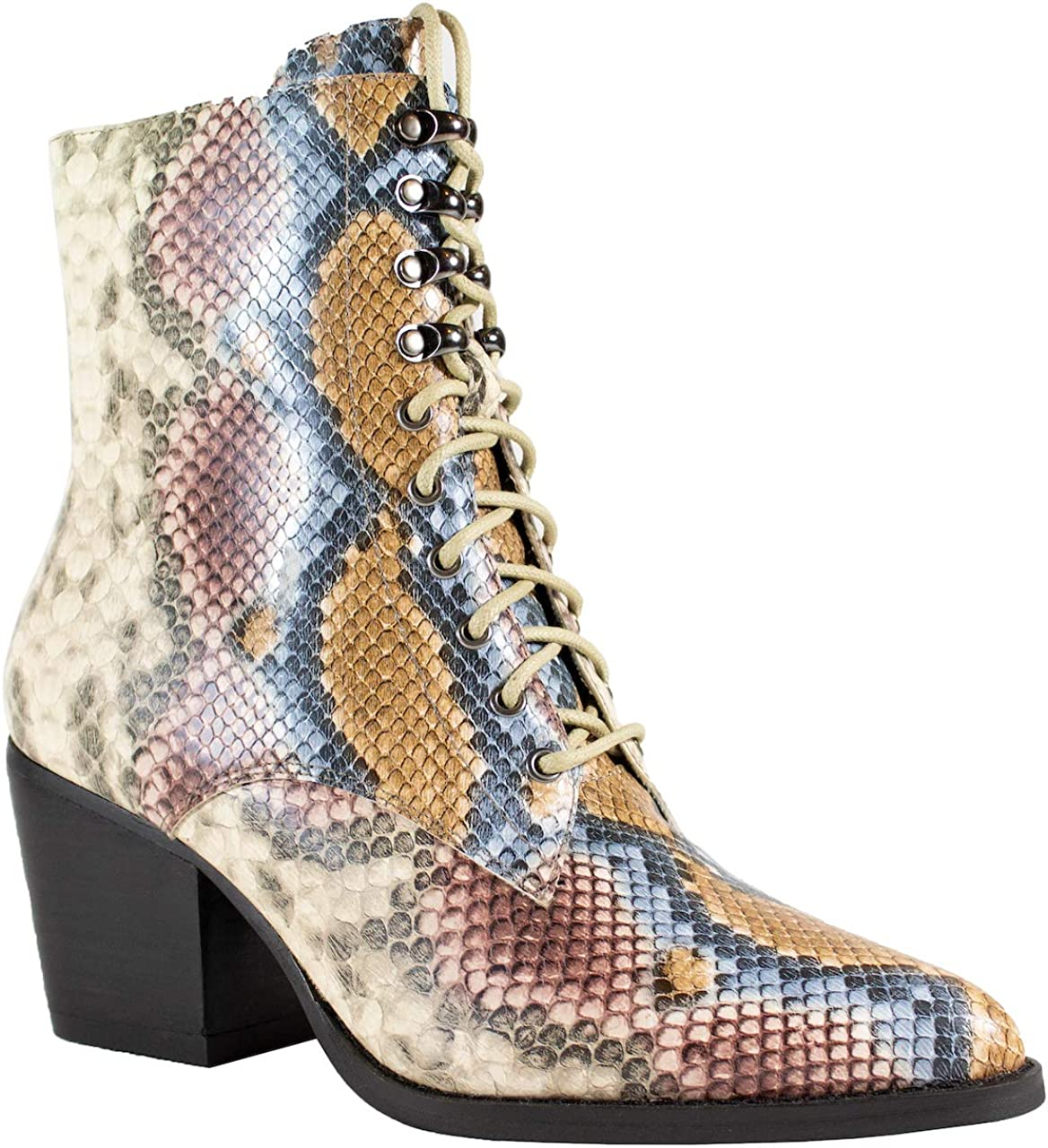 2020 IN Jane Women's Max 47% Financial sales sale OFF Combat Boots 7. Booties Ankle Snake Multi