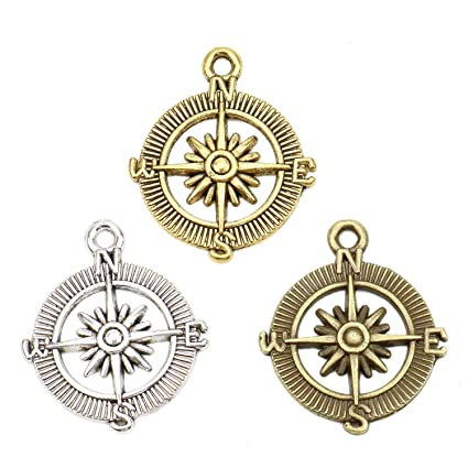 75773f04a9 JETEHO 30 Pcs Compass Charms Alloy Compass DIY Craft Pendant Jewelry Making  Charms