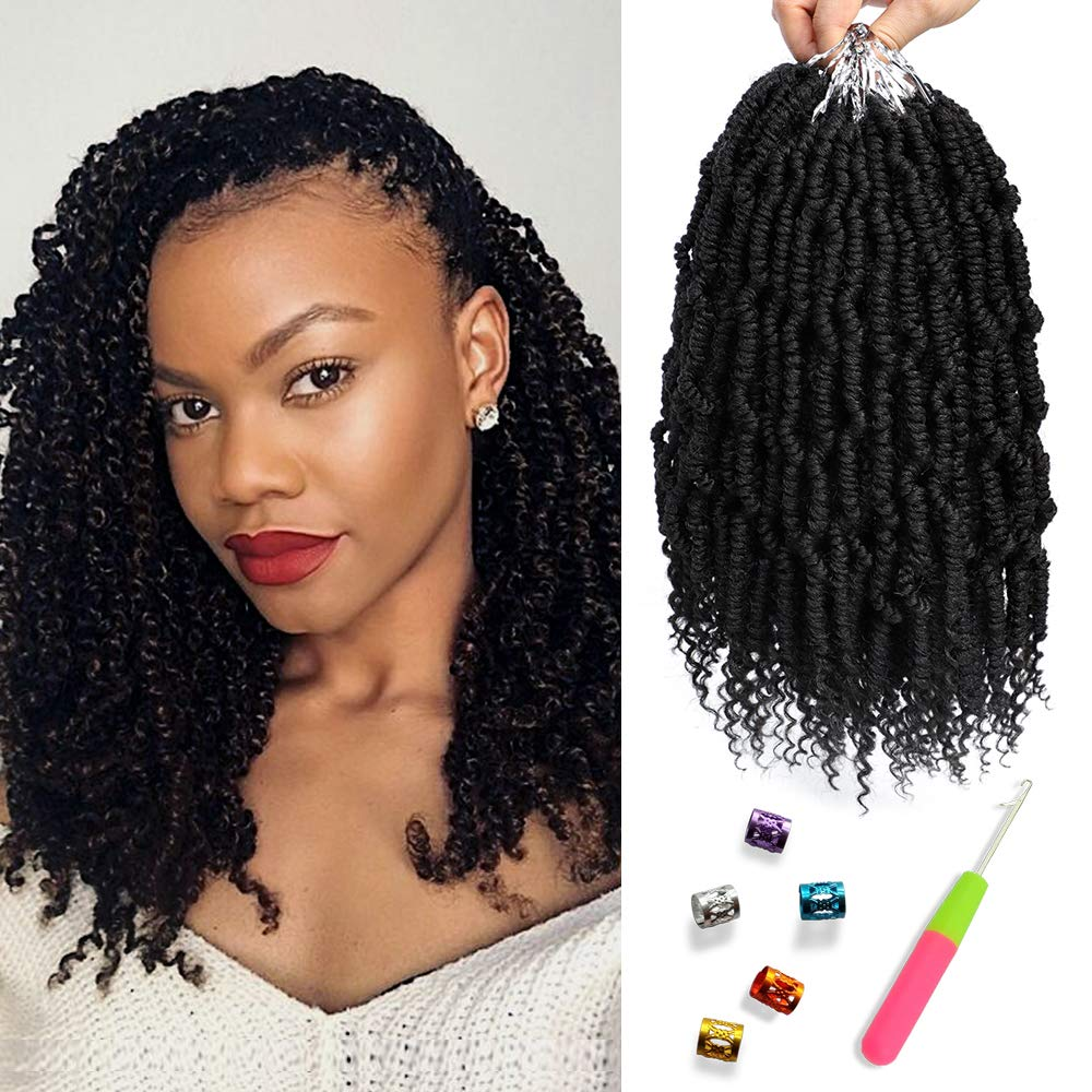 Bomb Twist Crochet Hair 6 Packs Spring Twist Hair Prelooped Crochet Braids Synthetic Hair Extension Passion Twist Mini Twist Hair dreadlocks Braiding Hair for Women 14inch By Mirra's Mirror (1B) by MIRRA'S MIRROR