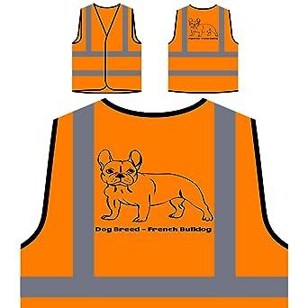 Perro De Raza Bulldog Francés Chaqueta de seguridad naranja personalizado de alta visibilidad s810vo