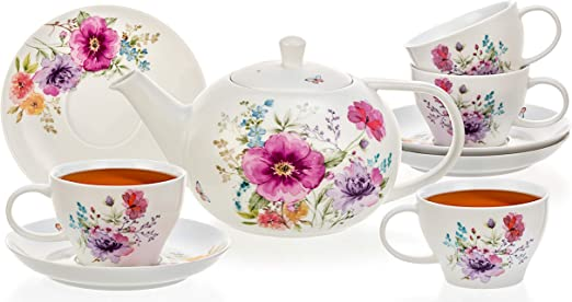 Ceramic Brewer Pot 3-4 Cups High Quality Large White Porcelain Teapot Tealyra 1000ml Teapot with Bee Style Spout Filter to Brew Loose Leaf Tea - English Modern Style 34.0-Ounce