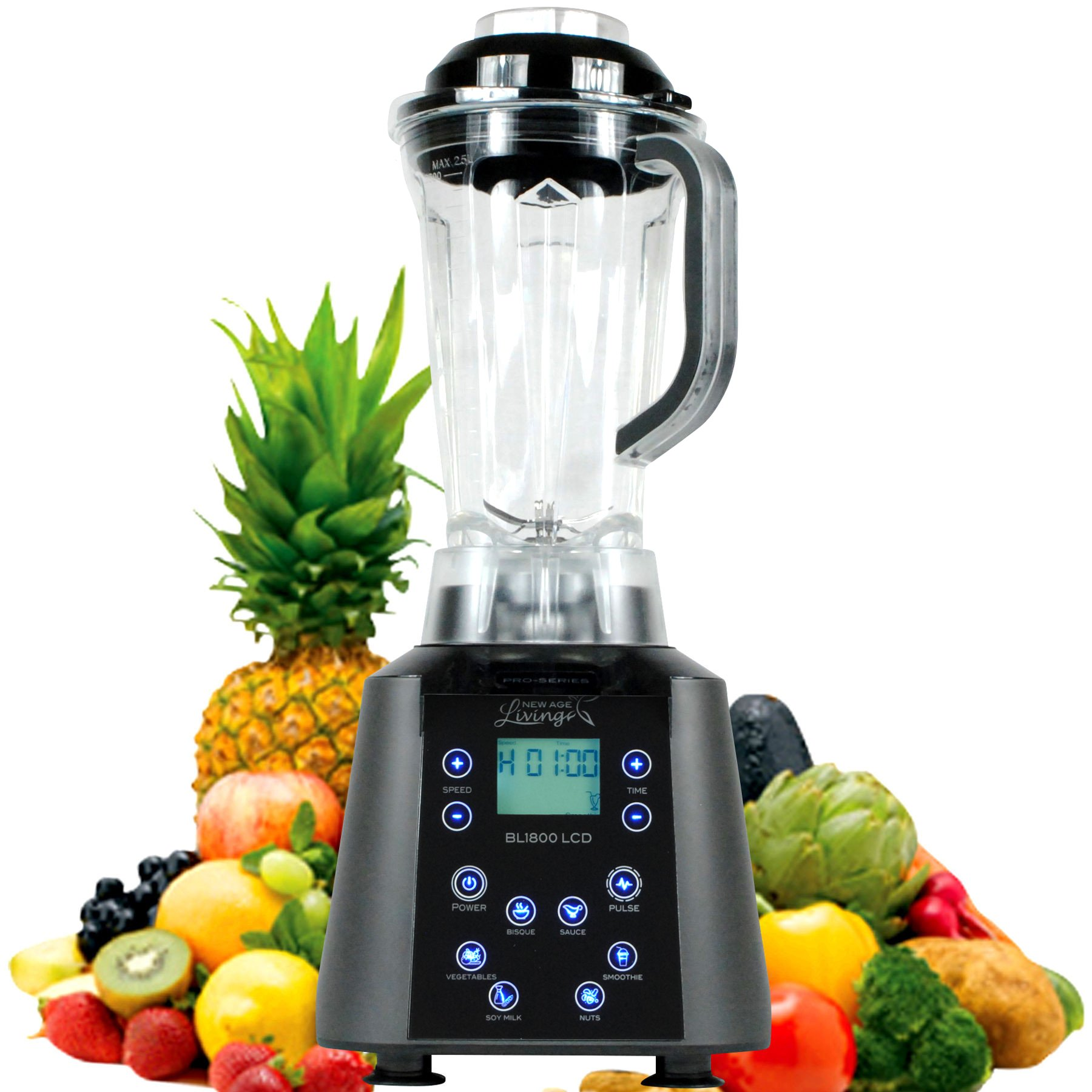New Age Living BL1800 LCD | Touch Panel Digital Soup & Smoothie Blender | 3.5HP Peak Power | Blends Frozen Fruits, Vegetables, Greens, even Ice | 5 Year Warranty (Dark Grey)