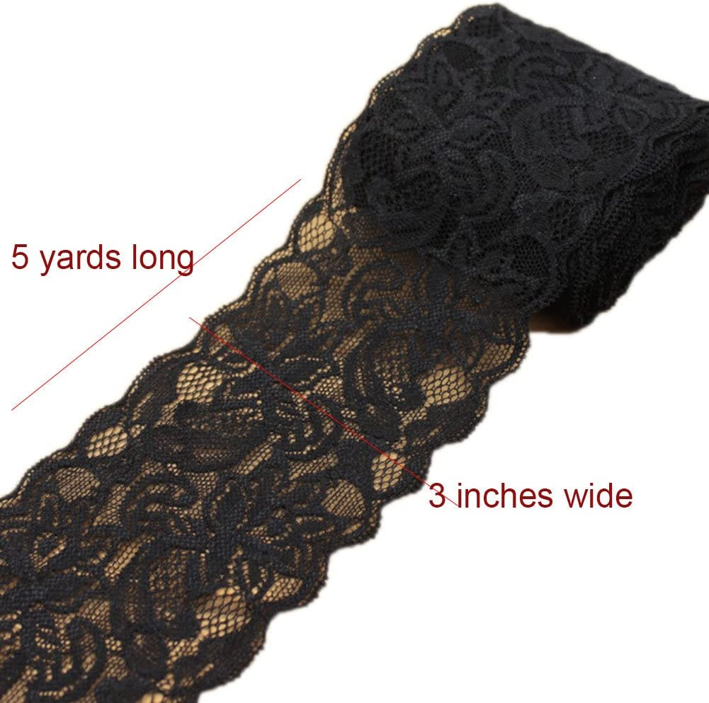 Ymacy 5 Yards Thin Lace Fabric Ribbon Trim Lace Yard for DIY Craft Clothing Accessories and Rustic Wedding Bridal Decoration Red