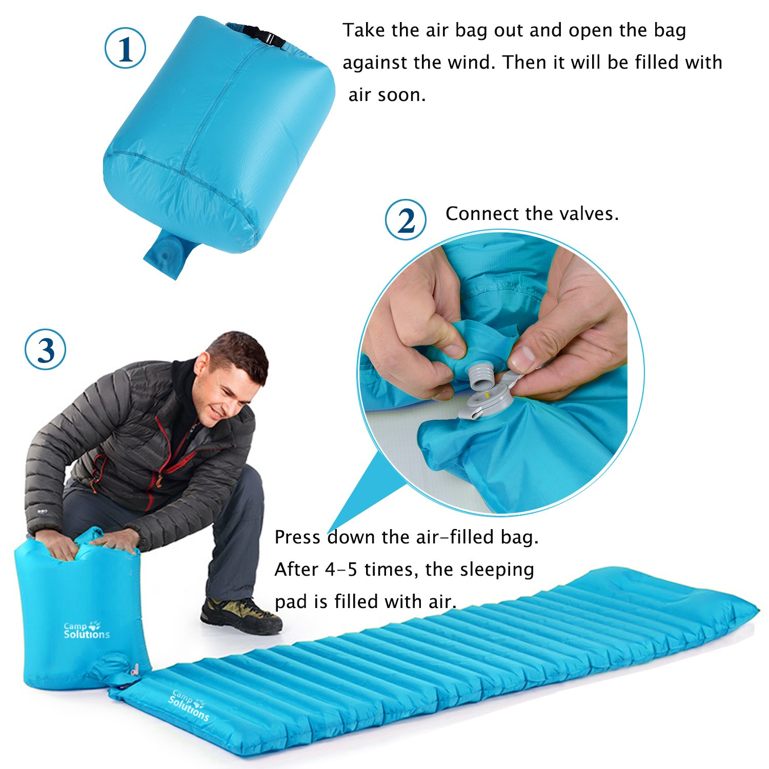 Amazon.com  C& Solutions Sleeping Pad TPU Thick Ultralight Lightweight Air Inflating C&ing Mattress C& Pad attached Pillow For Outdoor C&ing Hiking ...  sc 1 st  Amazon.com & Amazon.com : Camp Solutions Sleeping Pad TPU Thick Ultralight ...