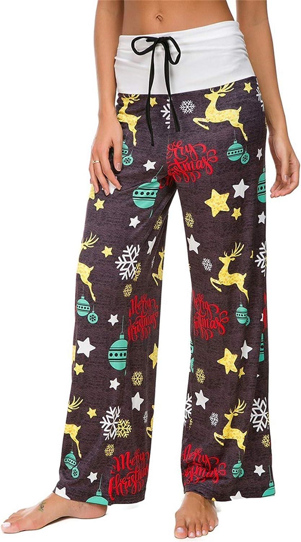 Kaitboe Womens Casual Loose Fit Floral Print Casual Drawstring Palazzo Wide Leg Lounge Pants Loose Pajama Pants